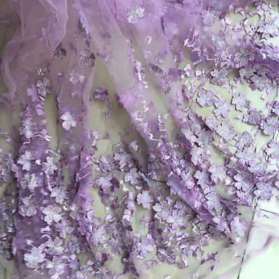 """1 Yard Purple 3D Flower Embroidered Mesh Lace Fabric Bridal Dress 51"""" Width"""