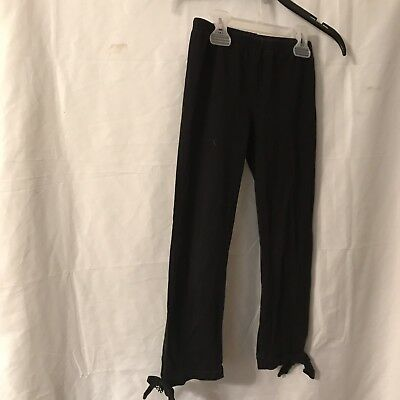 Gymboree Winter Penguin Solid Black Cropped Leggings Girls Size 7 Bows