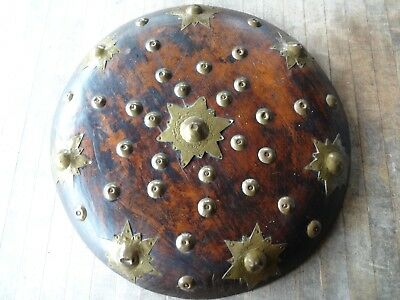 Antique,Vintage Round Wood Asian Shield,Brass Embellishments,Indonesia ?