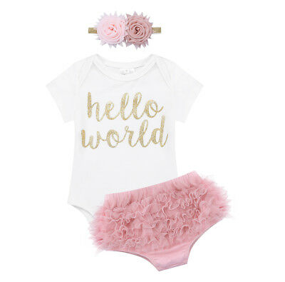 Newborn Baby Girls Outfit Clothes Hello World Romper Bloomers Headband 3Pcs Set