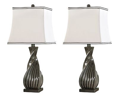 Kings Brand Grain Gray White Fabric Shade Table Lamps Set of 2