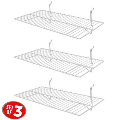 "Only Hangers White Wire Slatwall / Gridwall Shelf 24""L x 12""D 3PK"