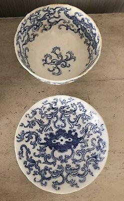 Antique Asian Chinese? Blue & White Porcelain Bowl & Plate Octopus Design Signed