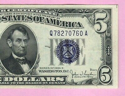 $5 1934 Blue Seal Silver Certificate Note Currency Old Five Dollar Money Bill