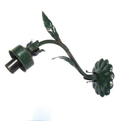 Vintage French Sconce, Green Enamel Tole, Flowers, Leaves