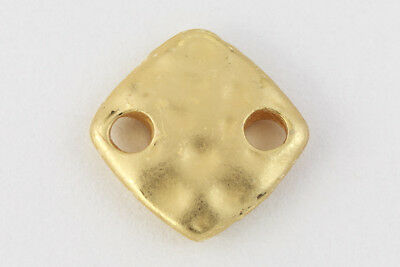 9mm Matte Gold Hammered Square Connector #MFA290