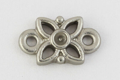10mm x 6mm Matte Silver Floral Connector #MFB293