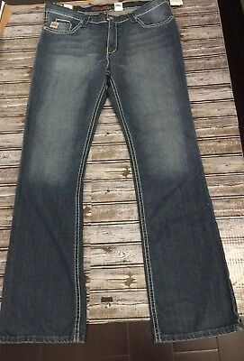 f245738efc5 Cinch Ian Mens Mid Rise Slim Boot Cut Jeans 38 x 36 Dark Wash Blue NWT