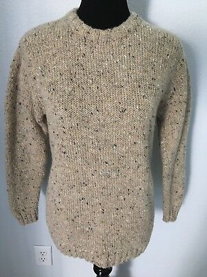 859464aa9e RATHLIN of Donegan IRELAND Hand Knit 100% Pure New Wool Sweater Women s M  Beige