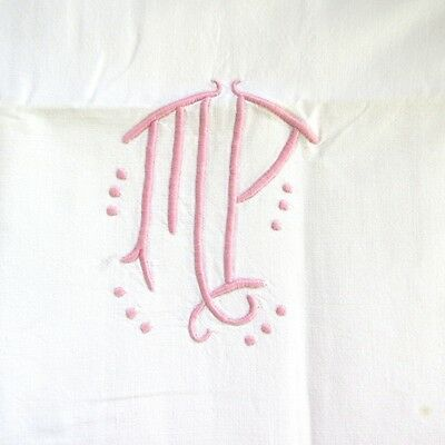 """VintageFrench Sheet, Monogrammed""""M.P."""",80 ¾"""" x 75 inches"""
