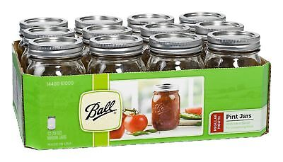 Ball Pint Mason Jars, 16 oz, Set of 12 with Lid and Band Regular Mouth New