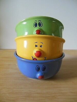 Cereals Soup Bowl X 3 Small Funny Face 3D Protruding Nose Blue Yellow Green