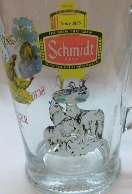 Heavy Schmidt Beer Pitcher With Wolves Bear, Turkey And Loons Swimming Vintage