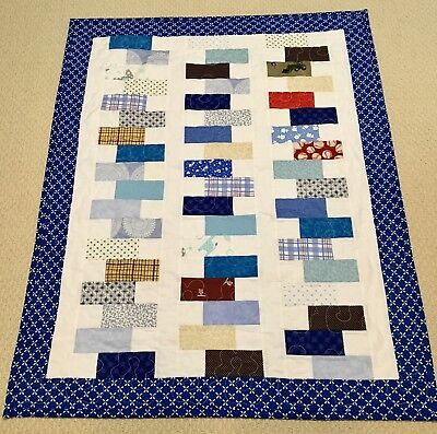 """New Handcrafted Cotton Blues/Other Colors """"Hopscotch"""" Baby Quilt"""