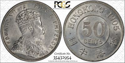 British Hong Kong, 1905 Edward VII Fifty Cents, 50 Cents. PCGS AU - 58.