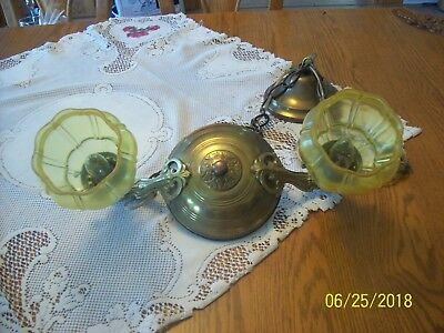 Uno Antique Two Gold Glass Shades Ceiling Drop Pendant Chandelier Light Fixture