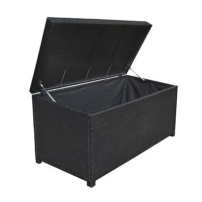 Style 2 BLACK 64'' x 30'' x 30''  Large Wicker Storage Box Chest Deck Pool Patio
