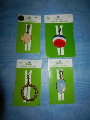 Lot of Four (4) NEW Vintage LANSING Fashion Decorative Clothing Zipper Pulls