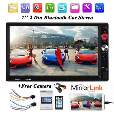 7'' 2Din Remote Control Bluetooth MP5 Car Radio TF USB Aux-in Hands-free +Camera