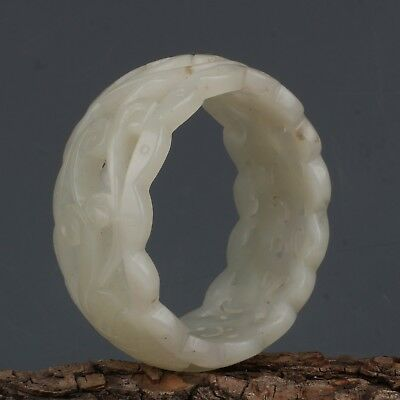 Chinese Exquisite Hand-carved flower carving Hetian jade bracelet