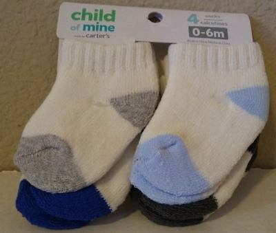 NEW Boys Carters Child of Mine Baby 8 Pair Blue Soft Thick Socks Sock 0-6 Months