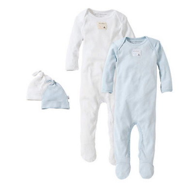 Burts Bees Baby Set-2 Bee Essentials Footed Coveralls/Knot Top Hats Premie