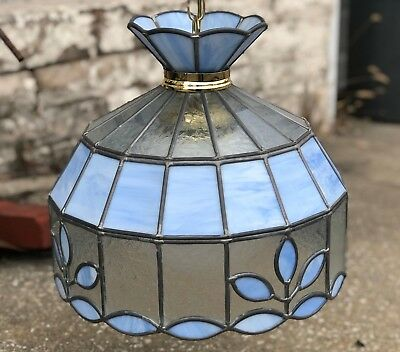 "Vintage 16"" Brass Sky Blue Floral Stained Leaded Glass Hanging Chandelier Light"