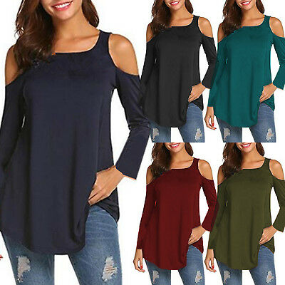 54770d3f1320 Womens Long Sleeve Cold Shoulder T-Shirt Shirt Lady Pullover Cut Out Tops  Blouse