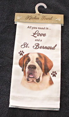 Saint Bernard Dog Breed Cotton Kitchen Dish Towel