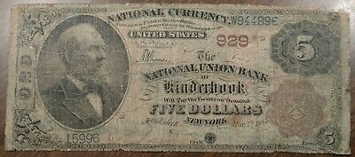 1882 Brown Back $5 National Note Ntl. Union Bank Kinderhook NY RARE!! Only 5 BB