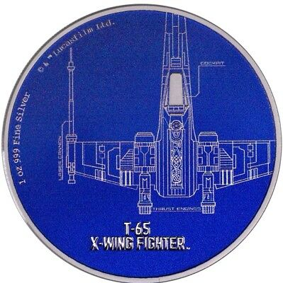 2017 1 Oz Silver $2 Niue T 65 X WING FIGHTER Star Wars Ships Coin.