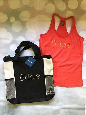 Coral Bride Tank Top Size Small with Matching Bride Tote Bag Gold Embellished