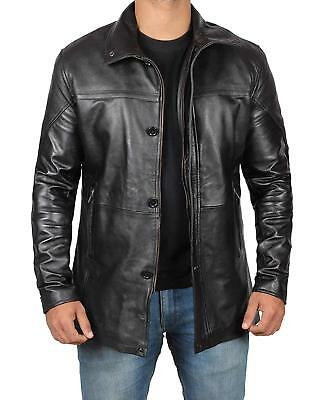 Mens Vintage Motorcycle Bristol Black Lambskin Two Pockets Real Leather Jacket