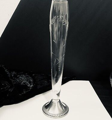 "Duchin Creation Crystal & Sterling Silver Etched Glass Bud Vase, Stands 9.5""Tall"