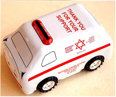 Jewish TZEDAKAH Charity TIN DONATIONS BOX Car AMBULANCE Israel MDA First Aid VR