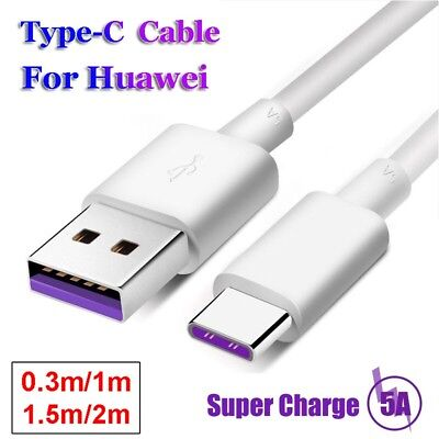 USB-C Fast Charging Cable Super Charger 5A For Huawei P20 Lite Pro P10 Mate 10