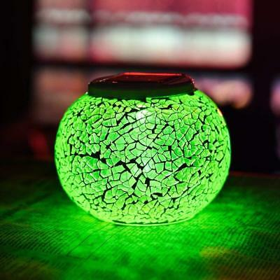 Solar Power LED Light Mosaic Glass Ball Garden Landscape Yard Color Change OY