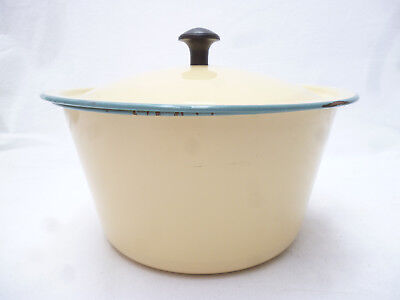 VINTAGE 1950s CREAM with BLUE ENAMEL WARE 19cm LIDDED BOWL - clean & shiny cond.
