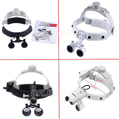 UK 3.5X Dental Surgical Headband Leather Medical LED Binocular Loupes Headlight