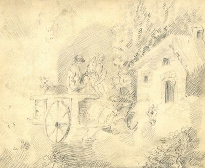 Figures in Horse Drawn Carriage - Original 19th-century graphite drawing