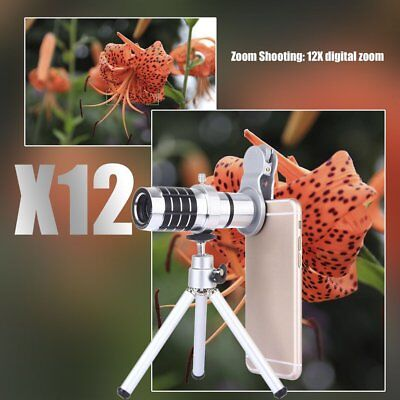 12X HD Metal Long Focus Wide Angle Phone Macro Lens with Tripod For Phone FK