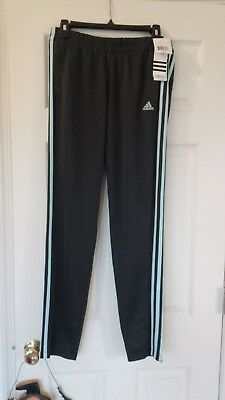 9771d3198bf50 NEW WOMEN'S ADIDAS T10 Pants -Dark Grey Lt Blue stripes - MSRP $45