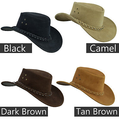 Australian Western style Cowboy Real Leather Bush hat with Chin Strap 05bc9fdd482f