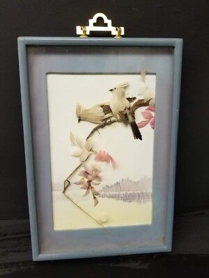 Antique Vintage Framed Hand Crafted Birds and Floral made With Feathers