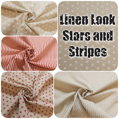 Stars + Stripes on Natural Colour Linen Look Cotton-Rich Curtain Craft Fabric