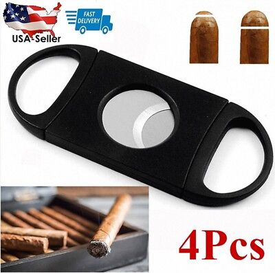 4Pcs Cigar Cutter Stainless Steel Double Blades Guillotine Knife Pocket Scissors