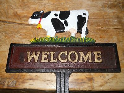 Cow Welcome Sign Cast Iron Factory New
