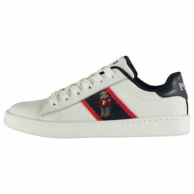Kids Polo Ralph Lauren Quilton Bear Trainers Low Lace Up Textured New