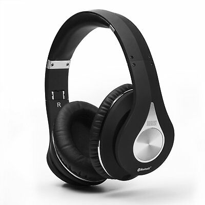 August EP640 Bluetooth Wireless Stereo NFC Headphones with 3.5mm Wired Audio ...