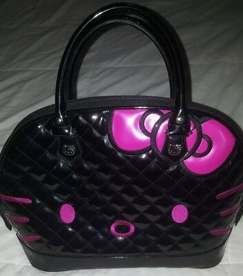 82185b4a8 Hello Kitty Loungefly Patent Quilted Face Bowler Bag Purse Satchel Black &  Pink